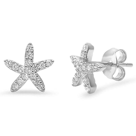Starfish Earrings Round Micro Pave Cubic Zirconia 925 Sterling Silver Starfish Stud Choose Color