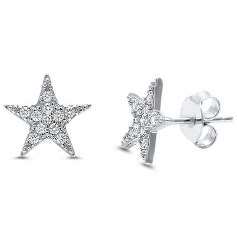10mm Star Earrings Round Cubic Zirconia 925 Sterling Silver Star Stud Earring Choose Color