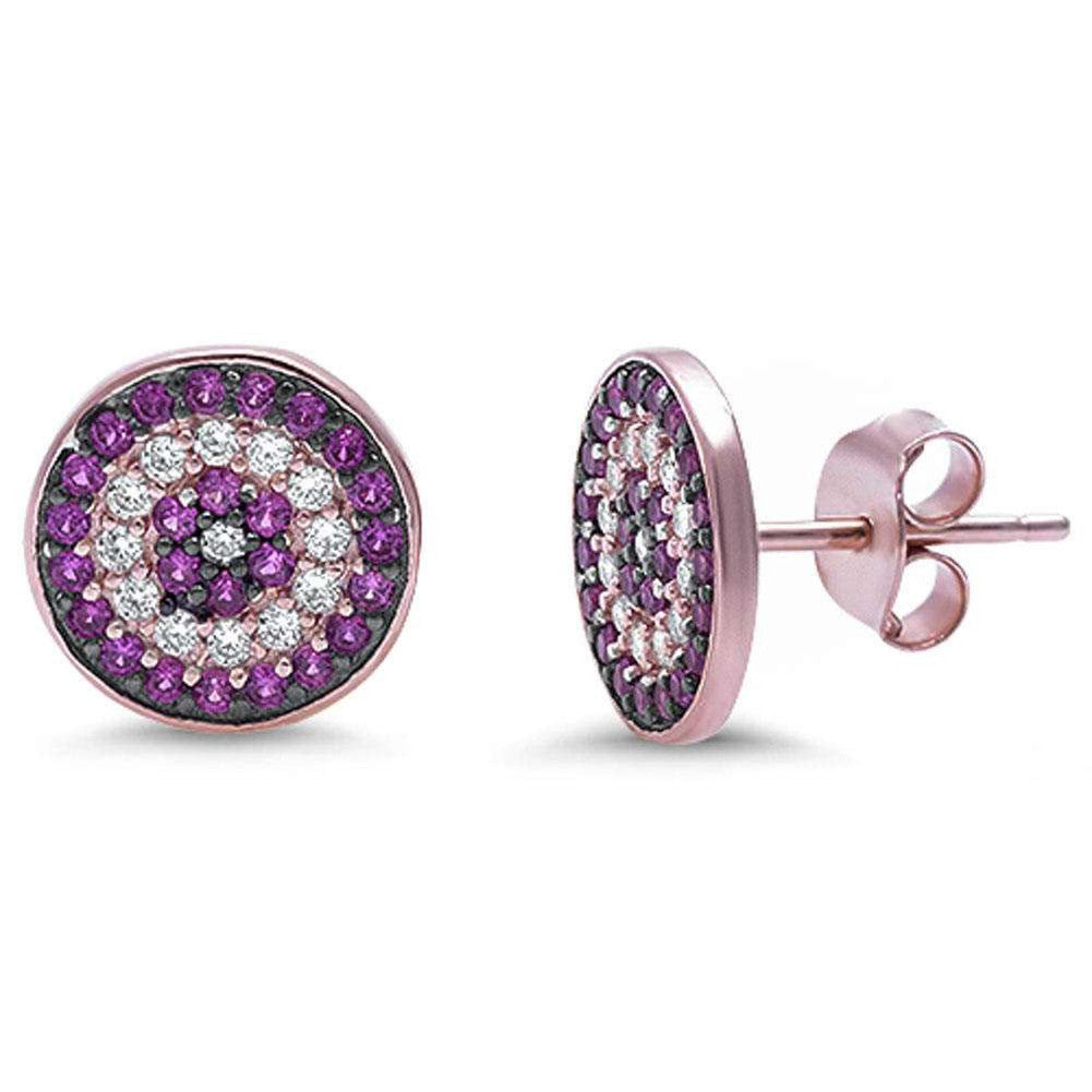 10mm Evil Eye Earrings Rose Gold Rhodium Plated 925 Sterling Silver Round CZ Eye Stud Earring Choose Color - Blue Apple Jewelry