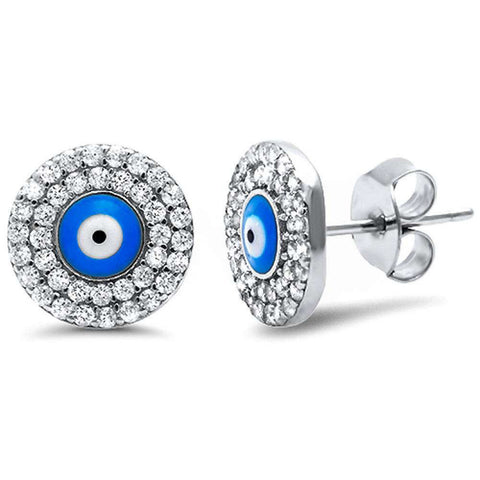 10mm Evil Eye Earrings 925 Sterling Silver Round Cubic Zirconia Evil Eye Stud Earring - Blue Apple Jewelry
