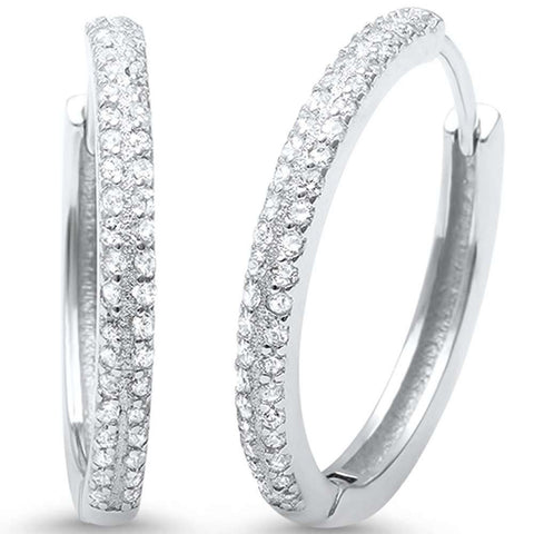 2mmx21mm Double Row Round Pave Cubic Zirconia Hoop Earrings 925 Sterling Silver