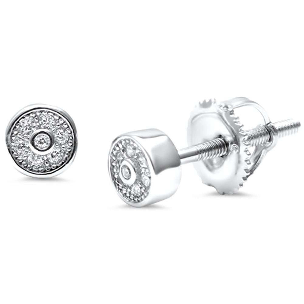 4mm Round Pave Unisex Stud Halo Earrings Round CZ 925 Sterling Silver Screwback Choose Color - Blue Apple Jewelry