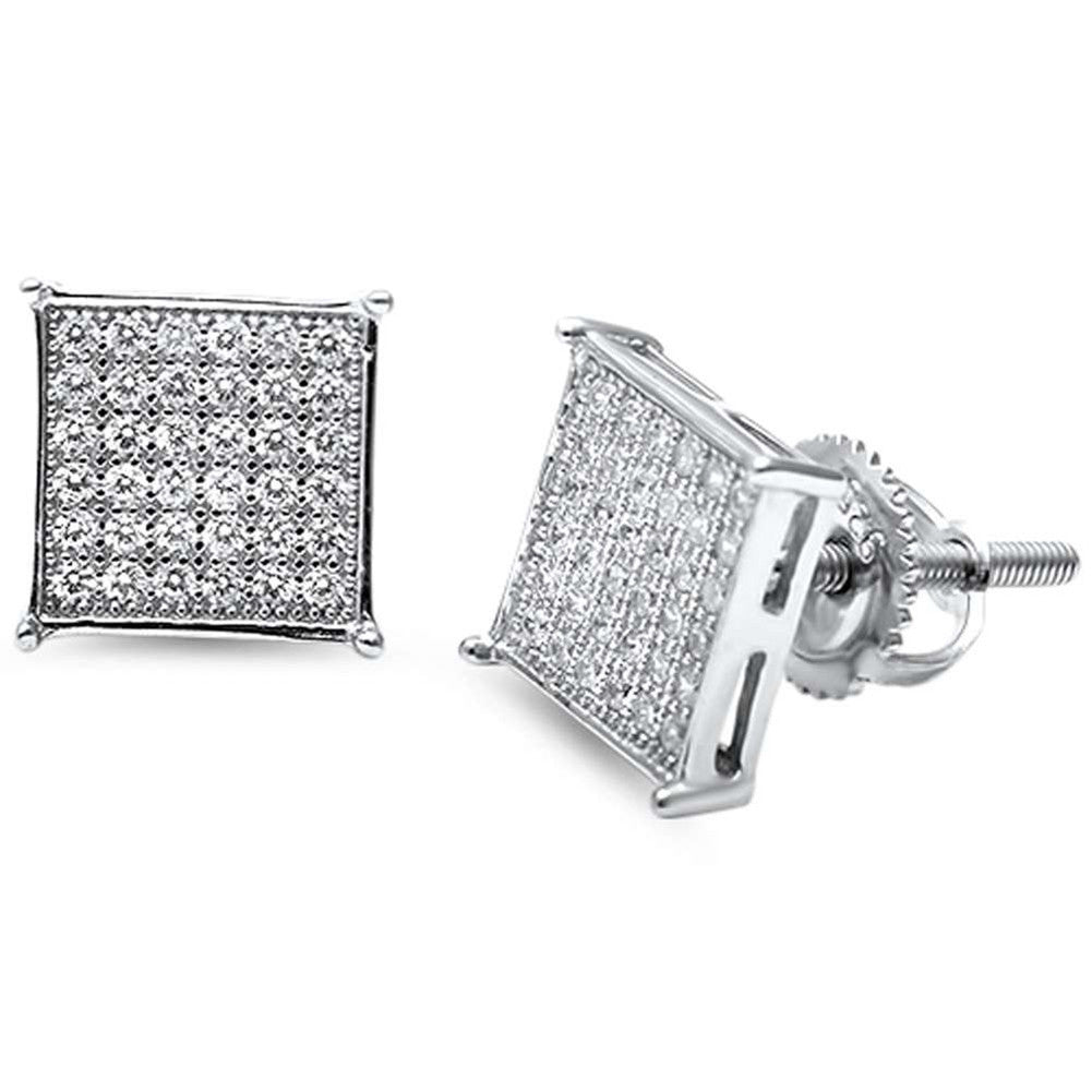 8mm Square Pave Unisex Stud Earrings Round CZ 925 Sterling Silver Screwback Choose Color - Blue Apple Jewelry