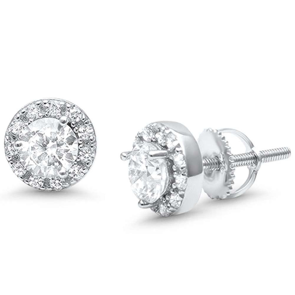 7mm Round Halo Stud Earrings Round Cubic Zirconia 925 Sterling Silver Screwback - Blue Apple Jewelry