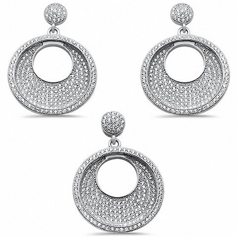 Jewelry Set Pendant Earrings Round Pave Cubic Zirconia 925 Sterling Silver Choose Color