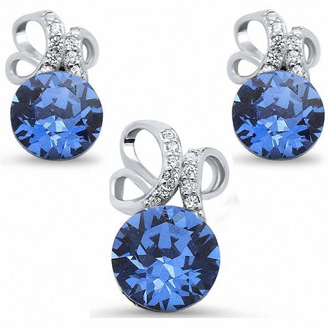Jewelry Set Pendant Earring Round Simulated Tanzanite Cubic Zirconia 925 Sterling Silver Choose Color