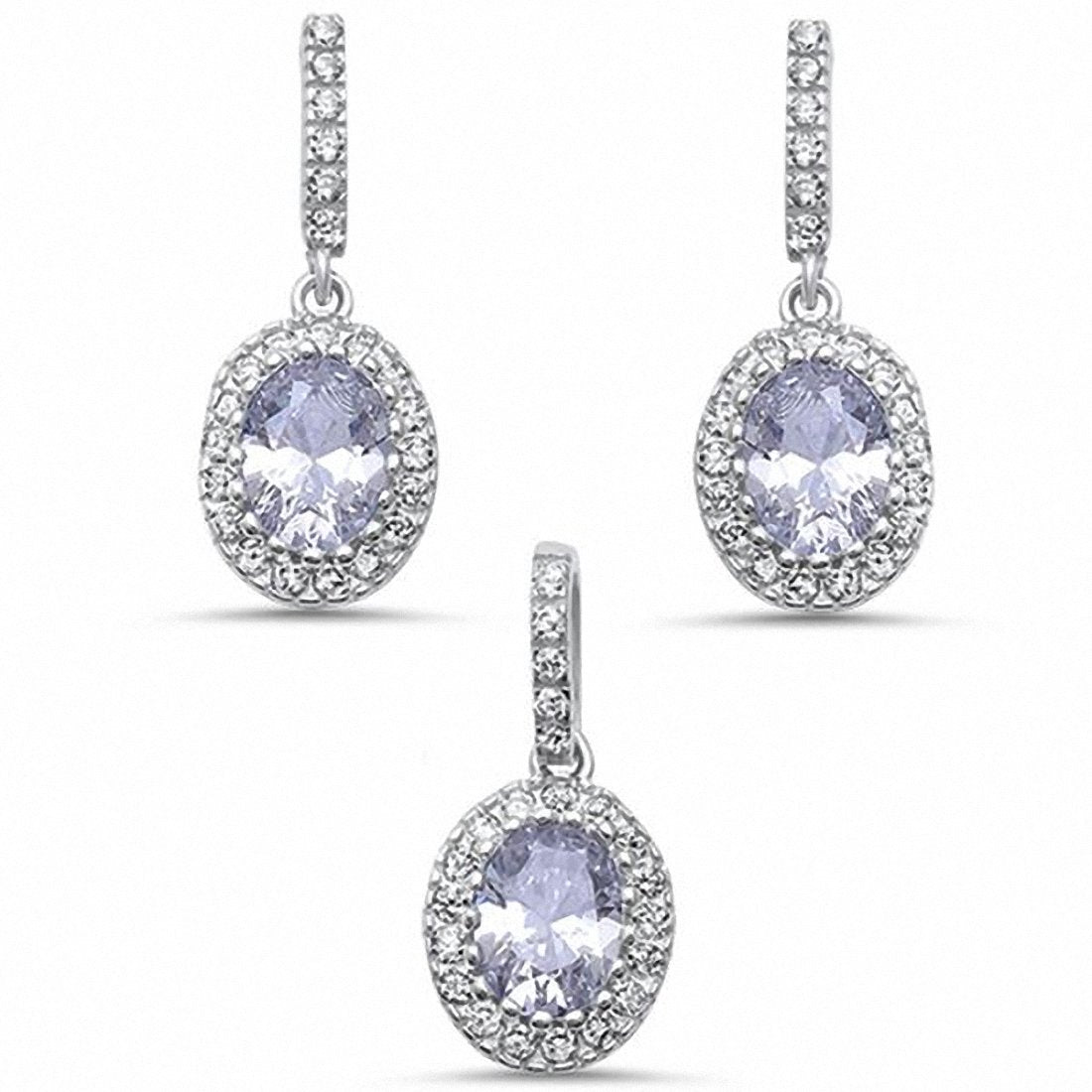 Halo Bridal Jewelry Set Simulated Oval Round Cubic Zirconia 925 Sterling Silver Choose Color