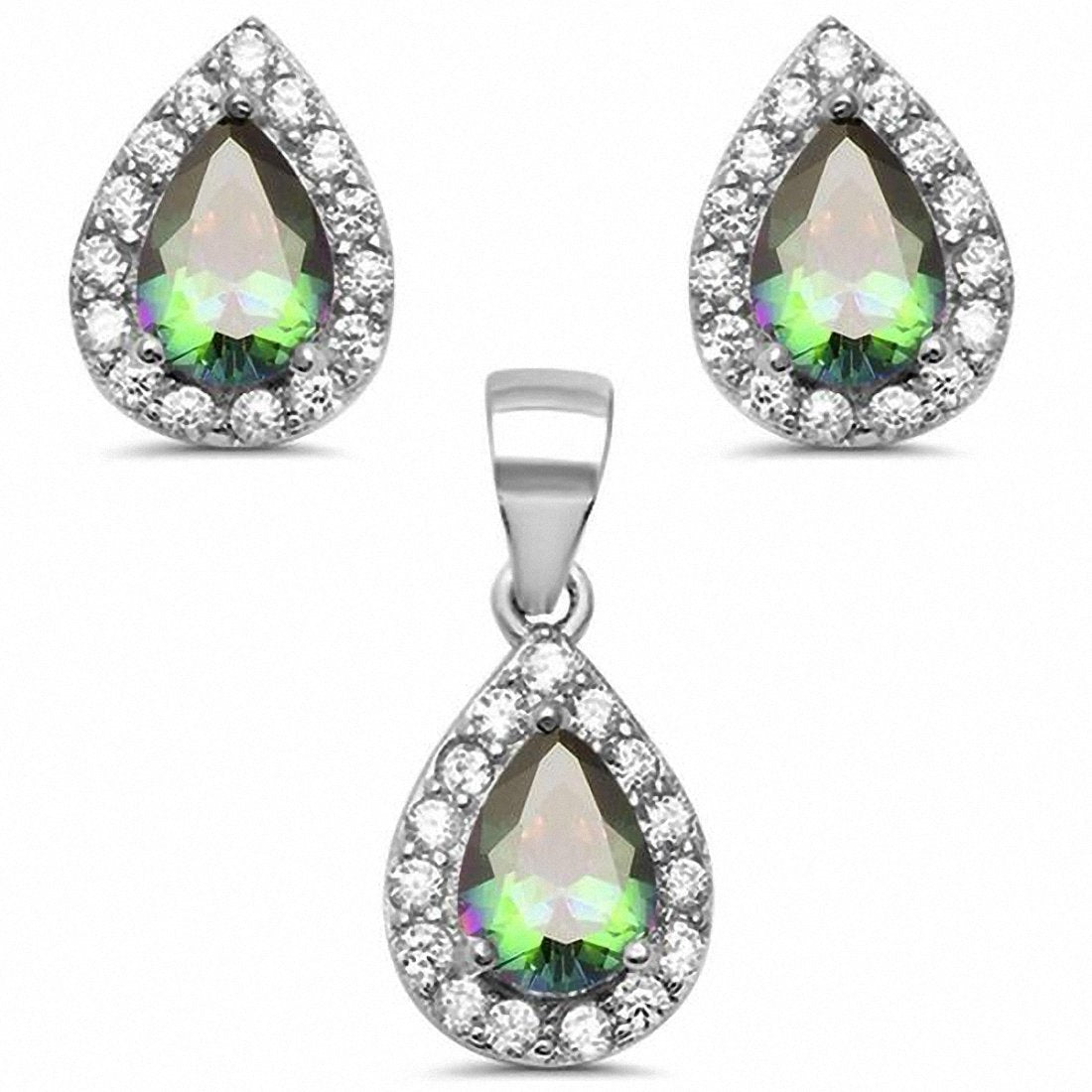 Halo Bridal Jewelry Set Teardro Simulated Pear Emerald & Round Cubic Zirconia 925 Sterling Silver Choose Color