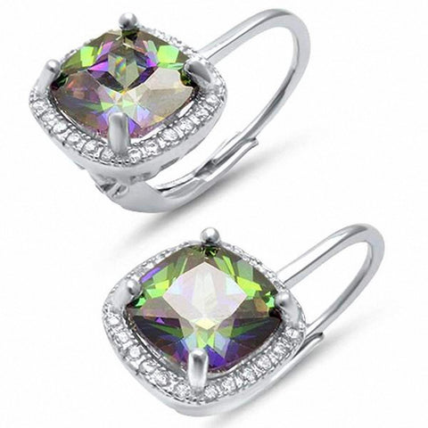 Halo Leverback Earrings Cushion Simulated Round Cubic Zirconia 925 Sterling Silver Choose Color