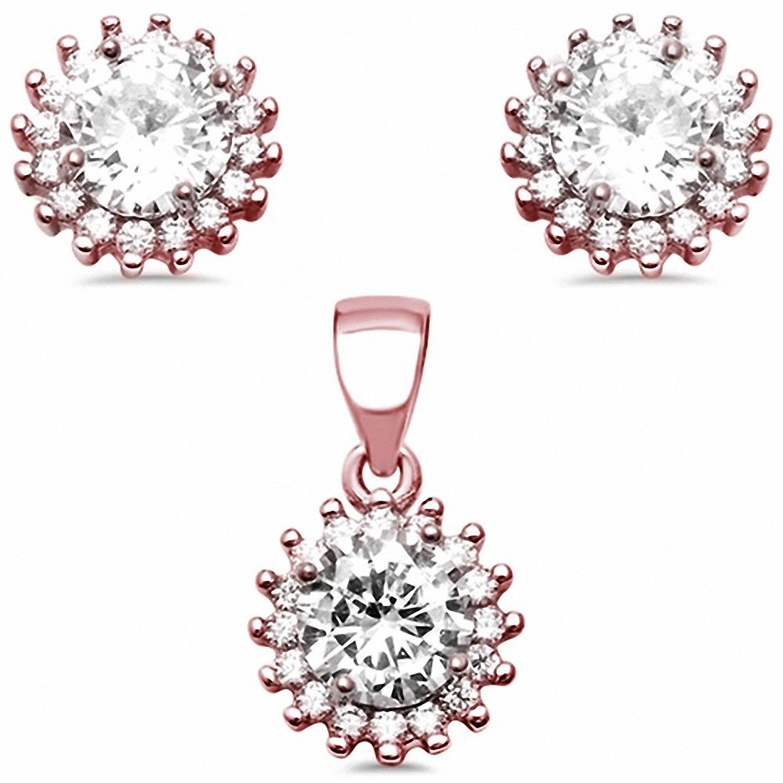Halo Jewelry Set Round Cubic Zirconia 925 Sterling Silver Choose Color