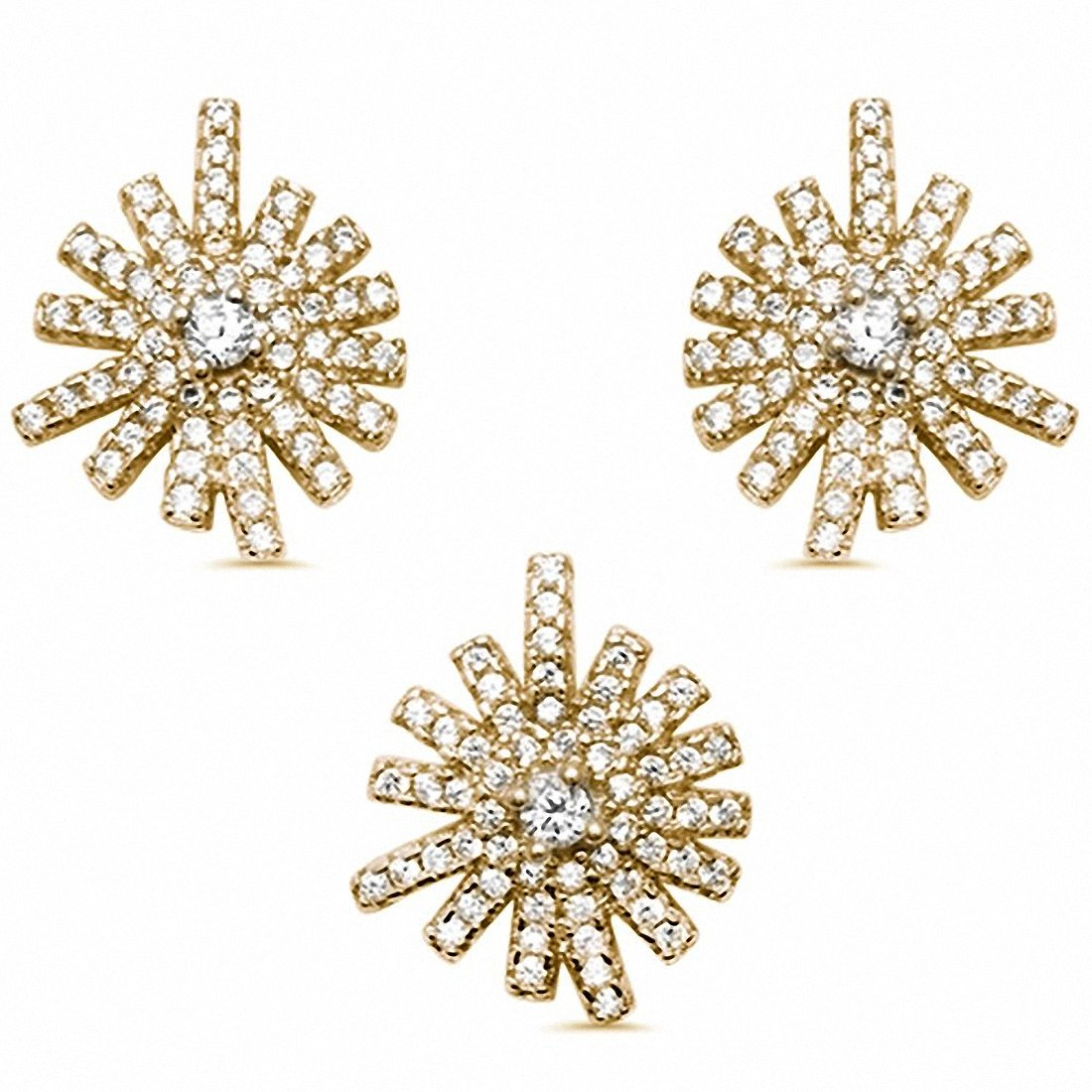 Starburst Jewelry Set Round Cubic Zirconia 925 Sterling Silver Pendant Earring Choose Color