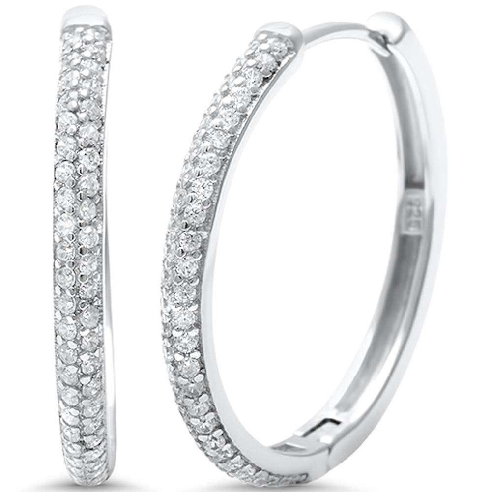 24mm Double Row Half Eternity Hoop Earrings Round Pave Cubic Zirconia 925 Sterling Silver - Blue Apple Jewelry