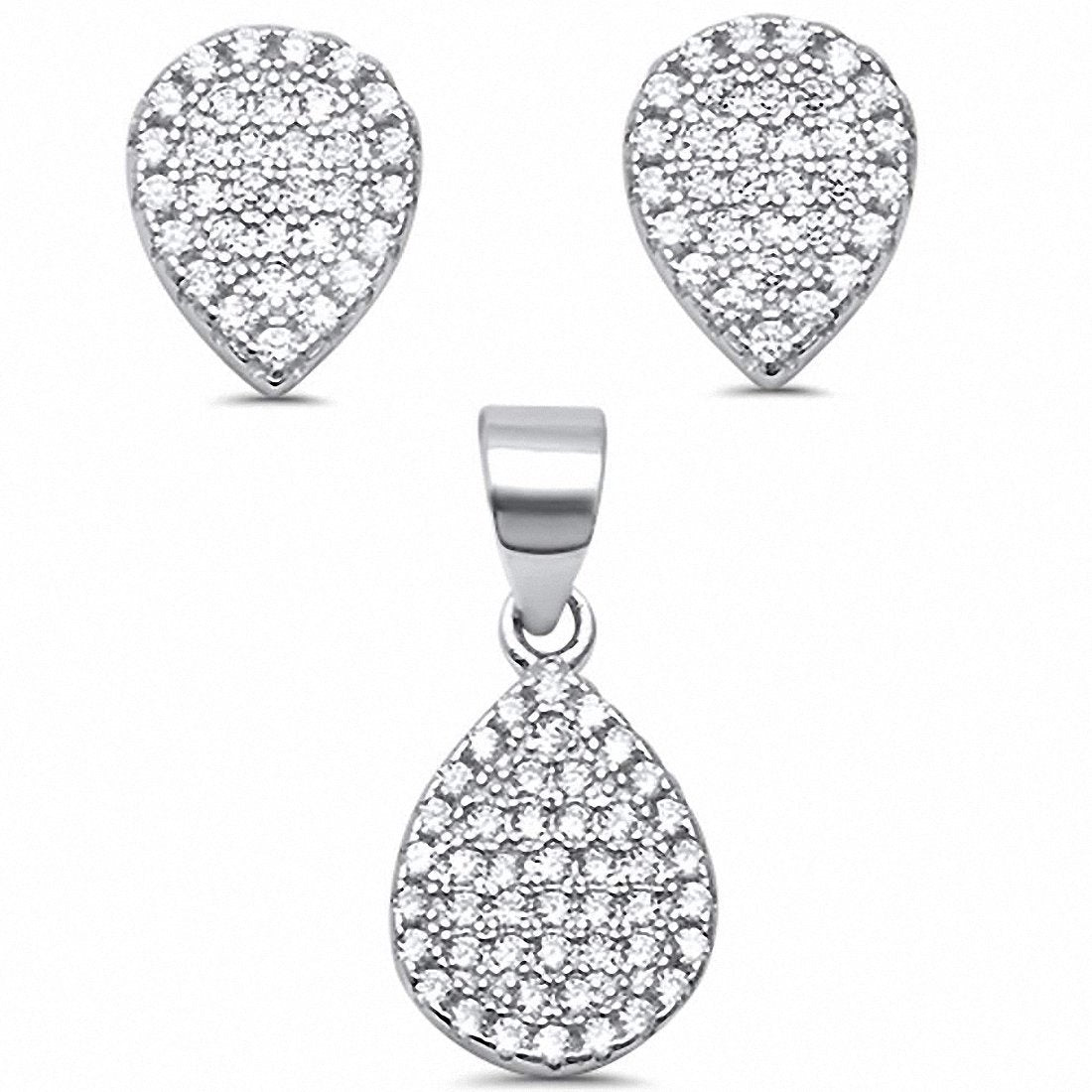 Micro Pave Teardrop Jewelry Set Round Cubic Zirconia 925 Sterling Silver Pear Shape Choose Color