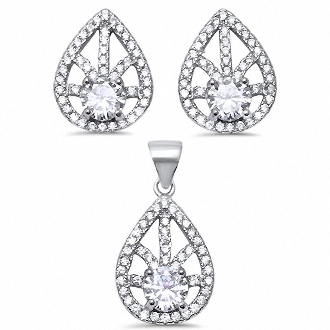 Teardrop Pear Shape Jewelry Set Round Cubic Zirconia 925 Sterling Silver Choose Color