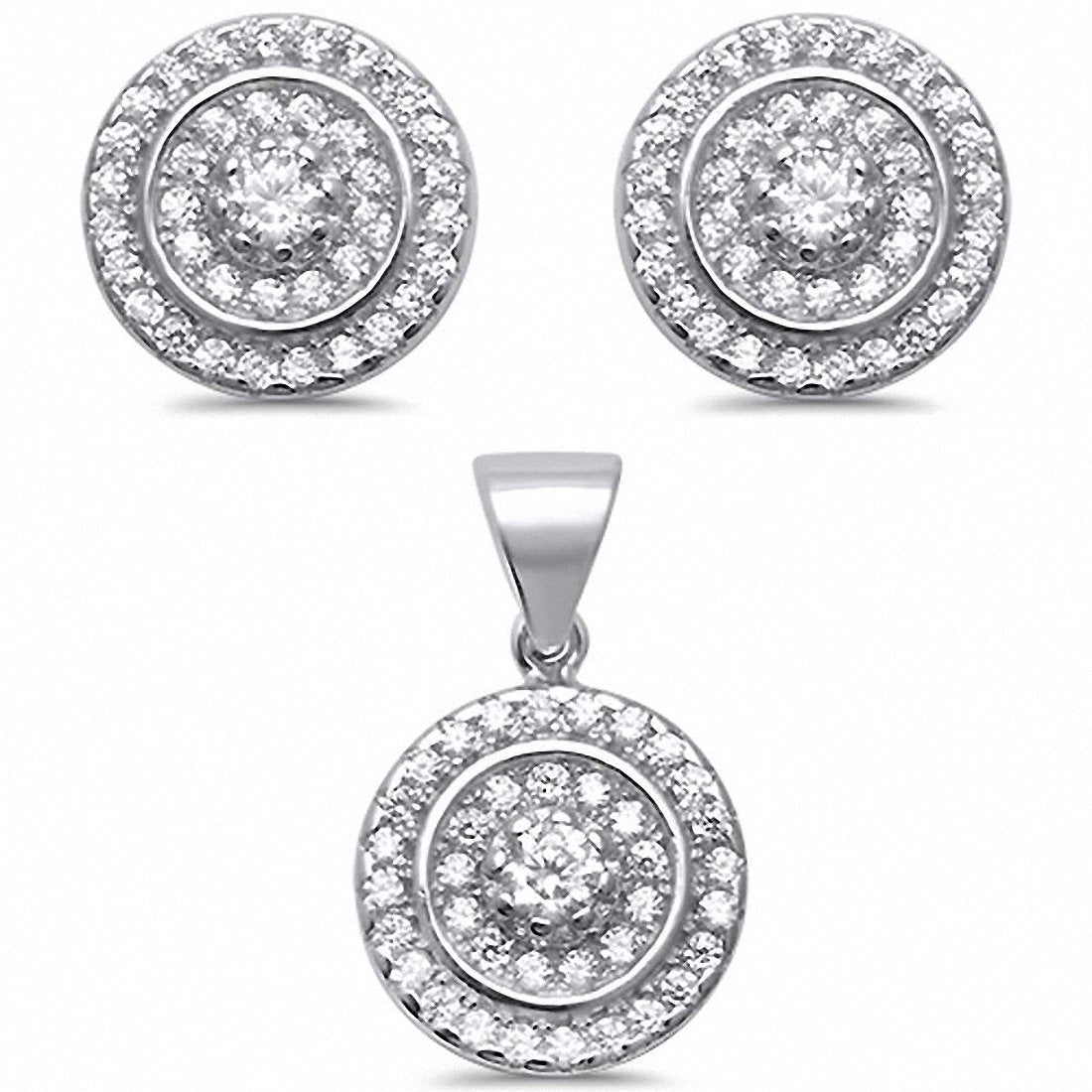 Halo Design Jewelry Set Round Cubic Zirconia 925 Sterling Silver Choose Color