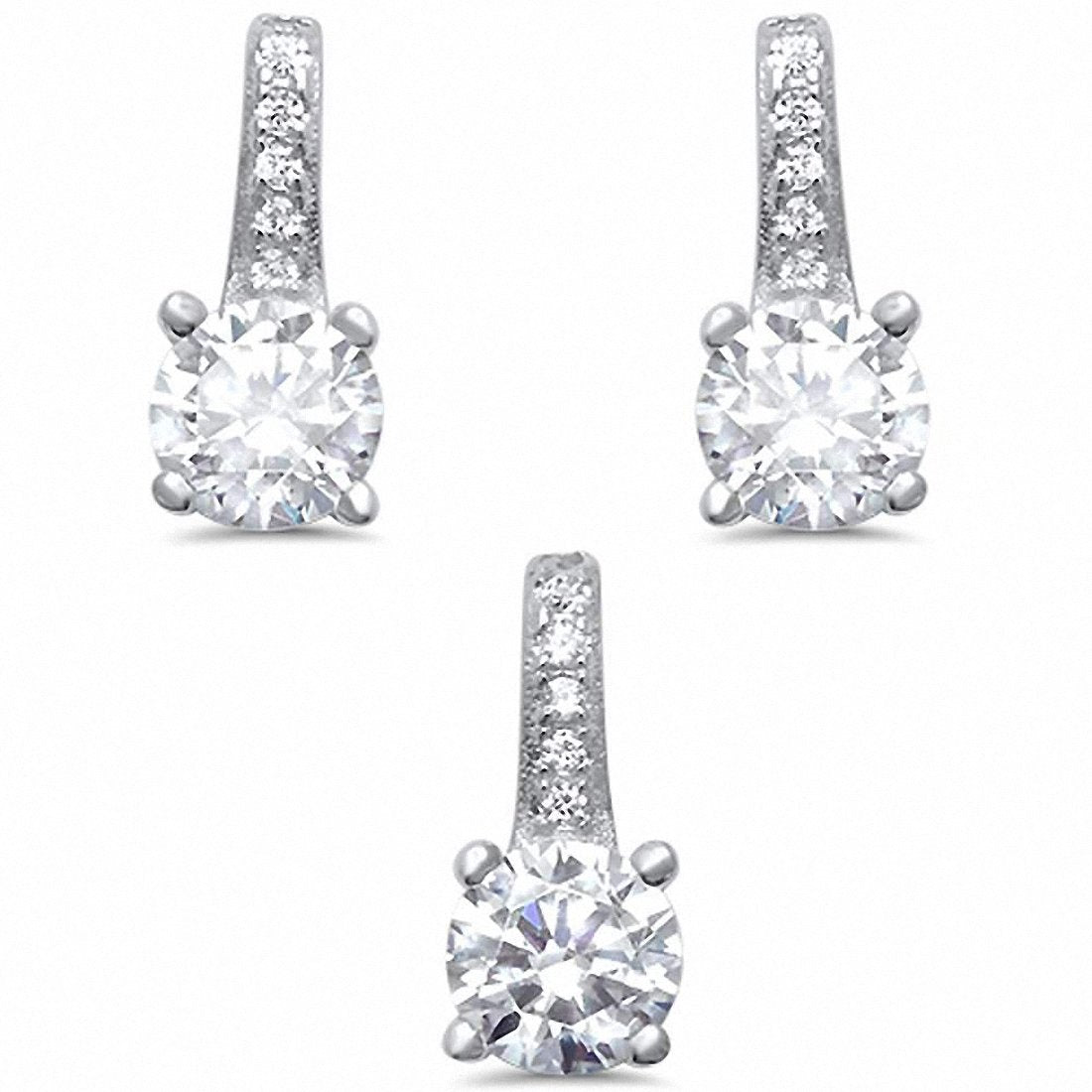 Solitaire Accent Jewelry Set Round Cubic Zirconia 925 Sterling Silver Choose Color