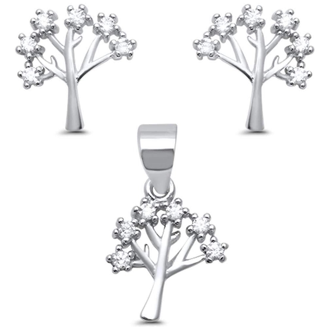 Family Tree Jewelry Set Pendant Earring Round Cubic Zirconia 925 Sterling Silver Choose Color