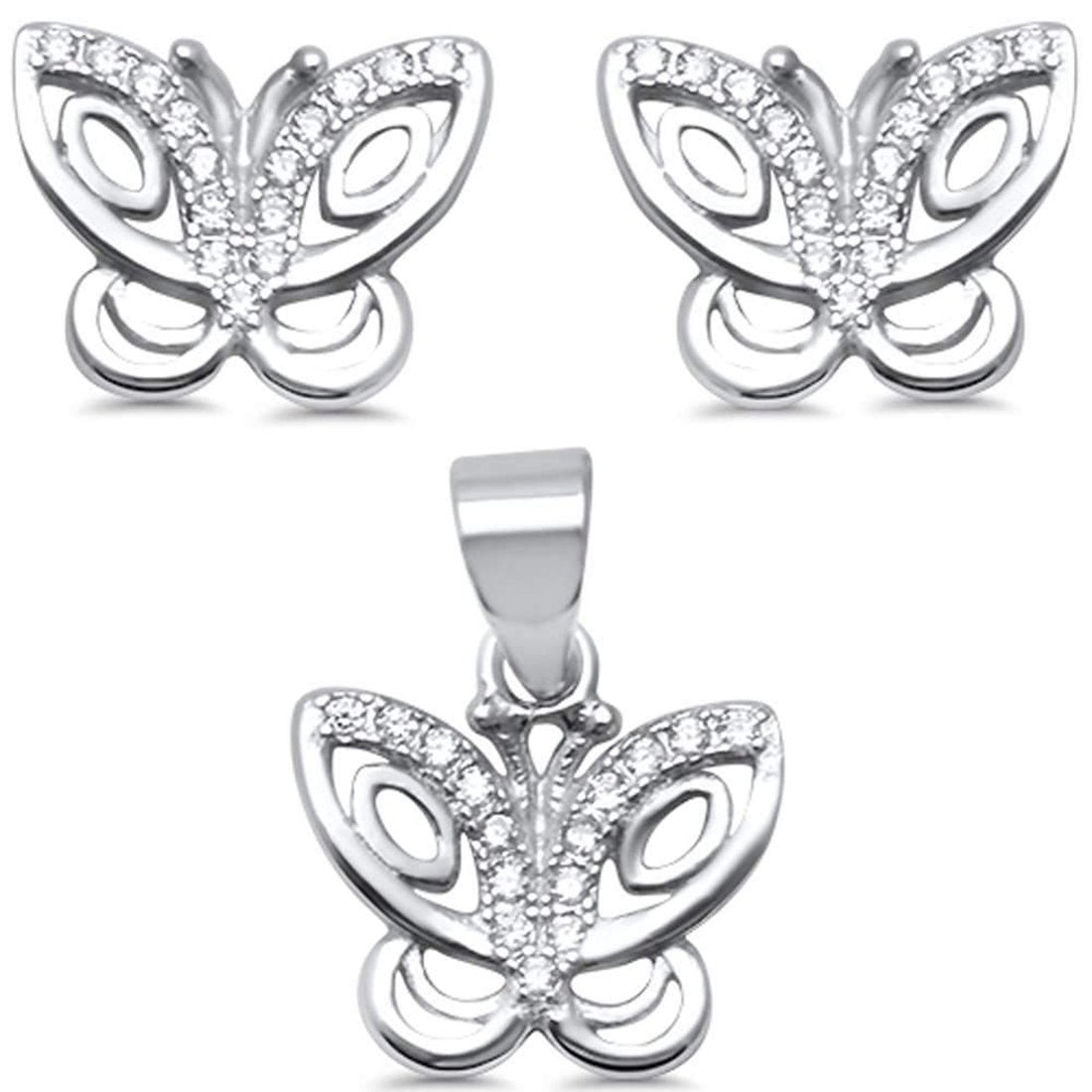 Butterfly Jewelry Set Round Cubic Zirconia 925 Sterling Silver Pendant Earring Choose Color