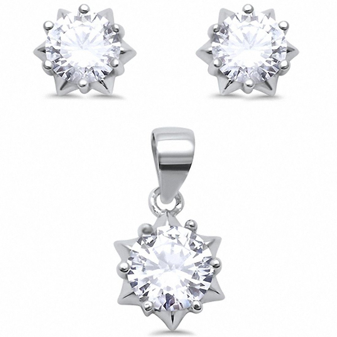 Star Design Jewelry Set Pendant Earring Round Simulated Cubic Zirconia 925 Sterling Silver Choose Color