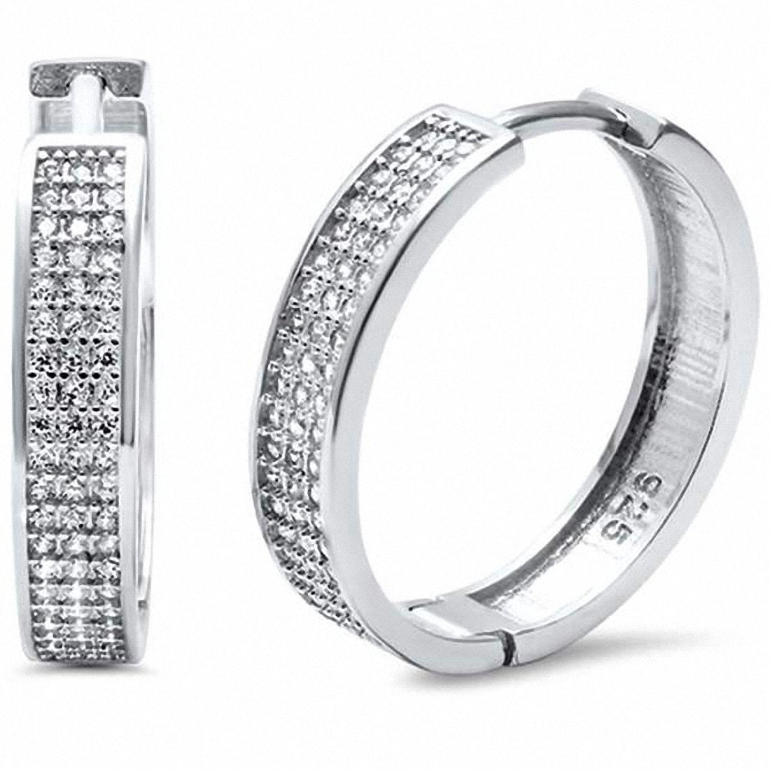 Micro Pave Hoop Earrings Round Cubic Zirconia 925 Sterling Silver Choose Color