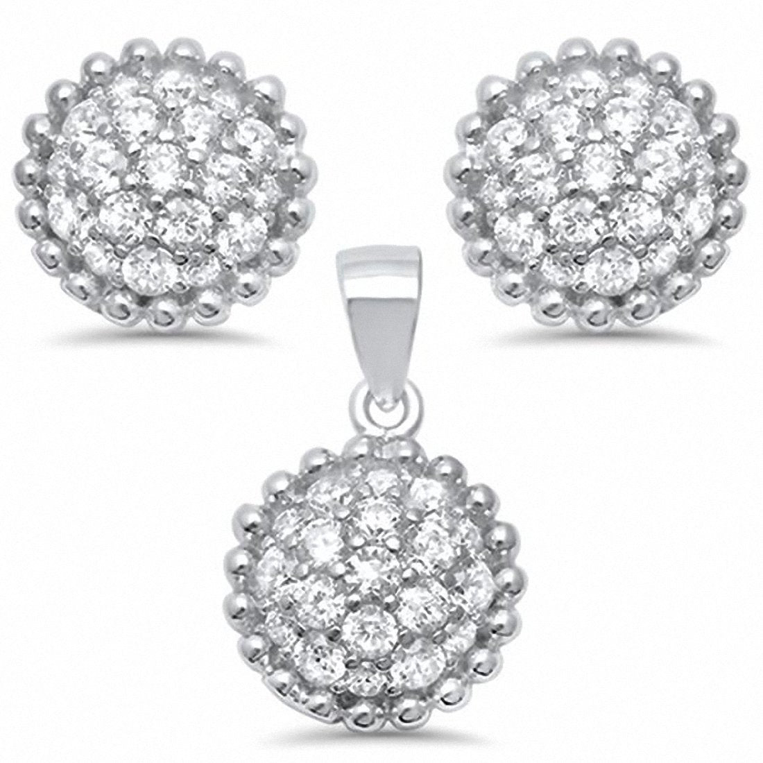 Fashion Jewelry Set Round Cubic Zirconia 925 Sterling Silver Choose Color