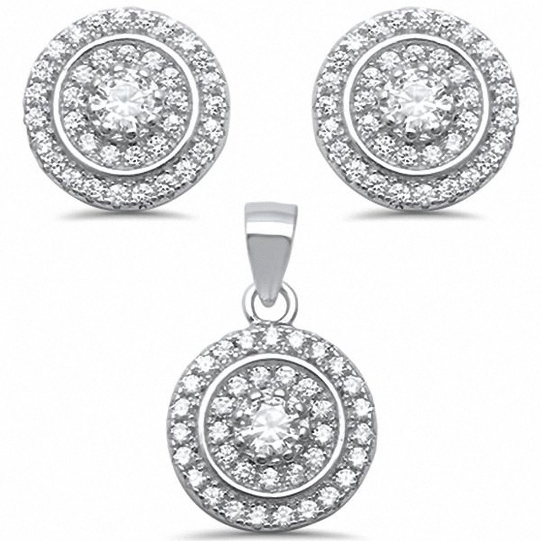 Micro Pave Cubic Zirconia Jewelry Set Round 925 Sterling Silver Choose Color
