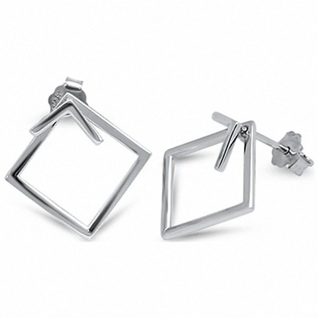 Plain Square Stud Earrings Rose Tone 925 Sterling Silver choose Color