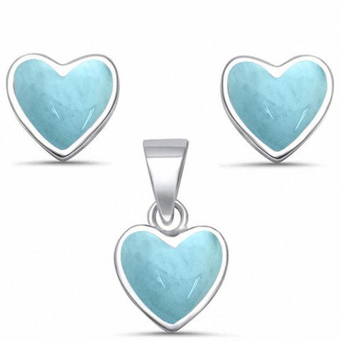 Heart Jewelry Set Created White Opal 925 Sterling Silver Choose Color