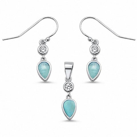 Teardrop Pear Fishhook Earrings Created Opal Jewelry Set 925 Sterling Silver Choose Color