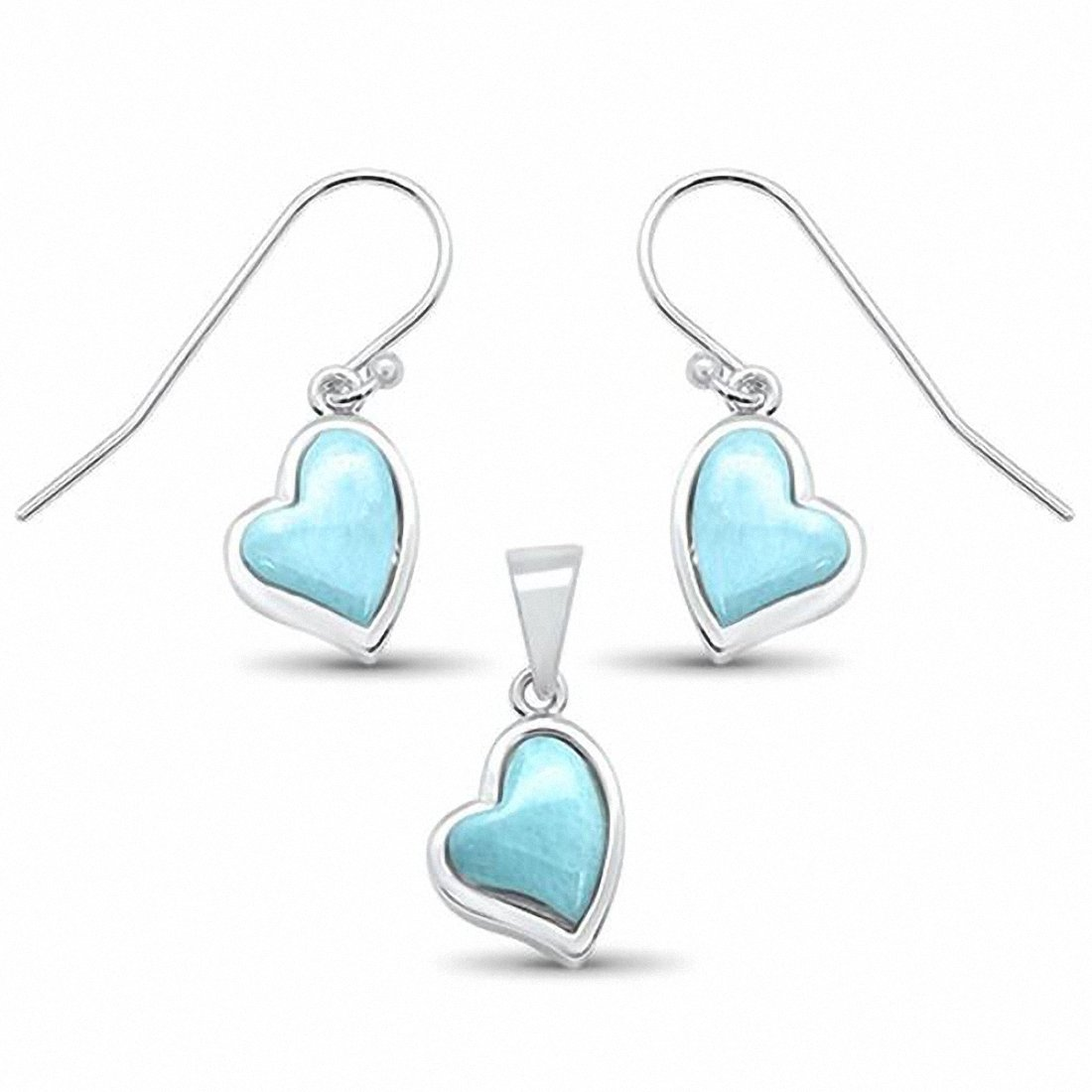 Heart Jewelry Set Pendant Created Opal Fishhook Earring 925 Sterling Silver Choose Color