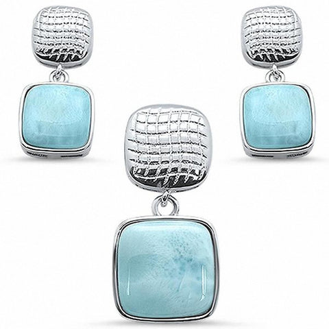 Cushion Jewelry Set Pendant Earring Set 925 Sterling Silver Choose Color