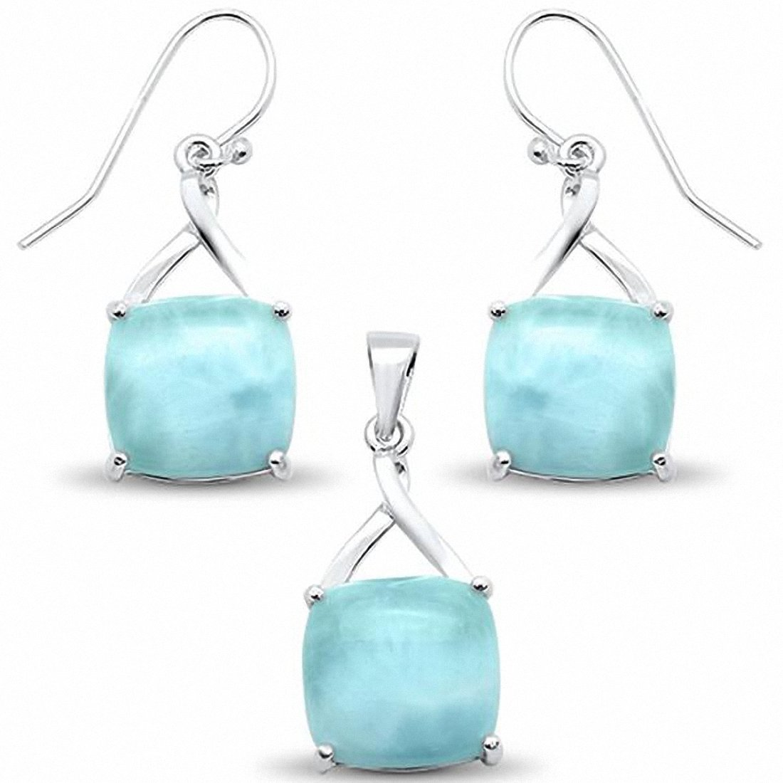 Larimar Jewelry Set cushion Twist Design 925 Sterling Silver Choose Color