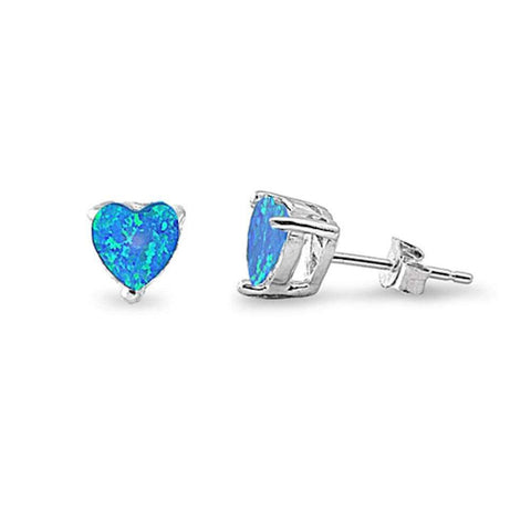 7mm Heart Earrings Created Opal 925 Sterling Silver Solitaire Heart Stud Choose Color