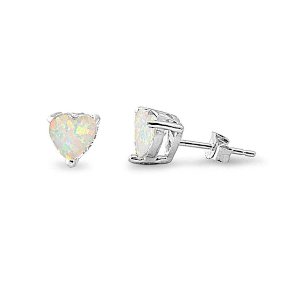 7mm Heart Earrings Created Opal 925 Sterling Silver Solitaire Heart Stud Choose Color - Blue Apple Jewelry