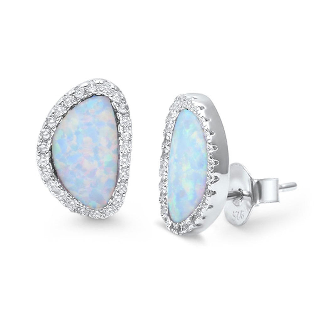 12mm Halo Design Earring Round CZ Lab Created Opal 925 Sterling Silver Stud Earring Choose Color - Blue Apple Jewelry