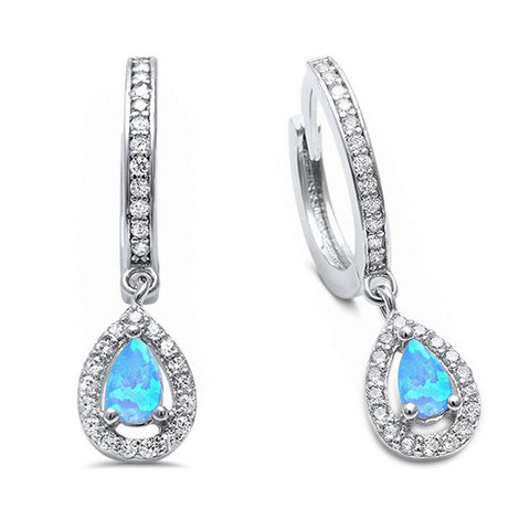 25mm Halo Teardrop Bridal Earrings Leverback Pear Created Opal Round CZ 925 Sterling Silver Choose Color