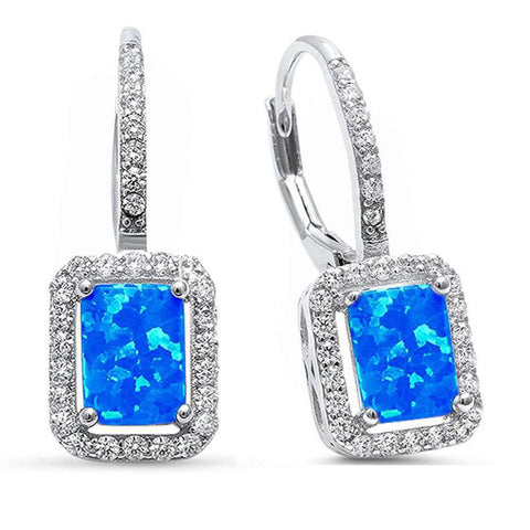 23mm Halo Leverback Earrings Radiant Created Opal Round Cubic Zirconia 925 Sterling Silver Choose Color
