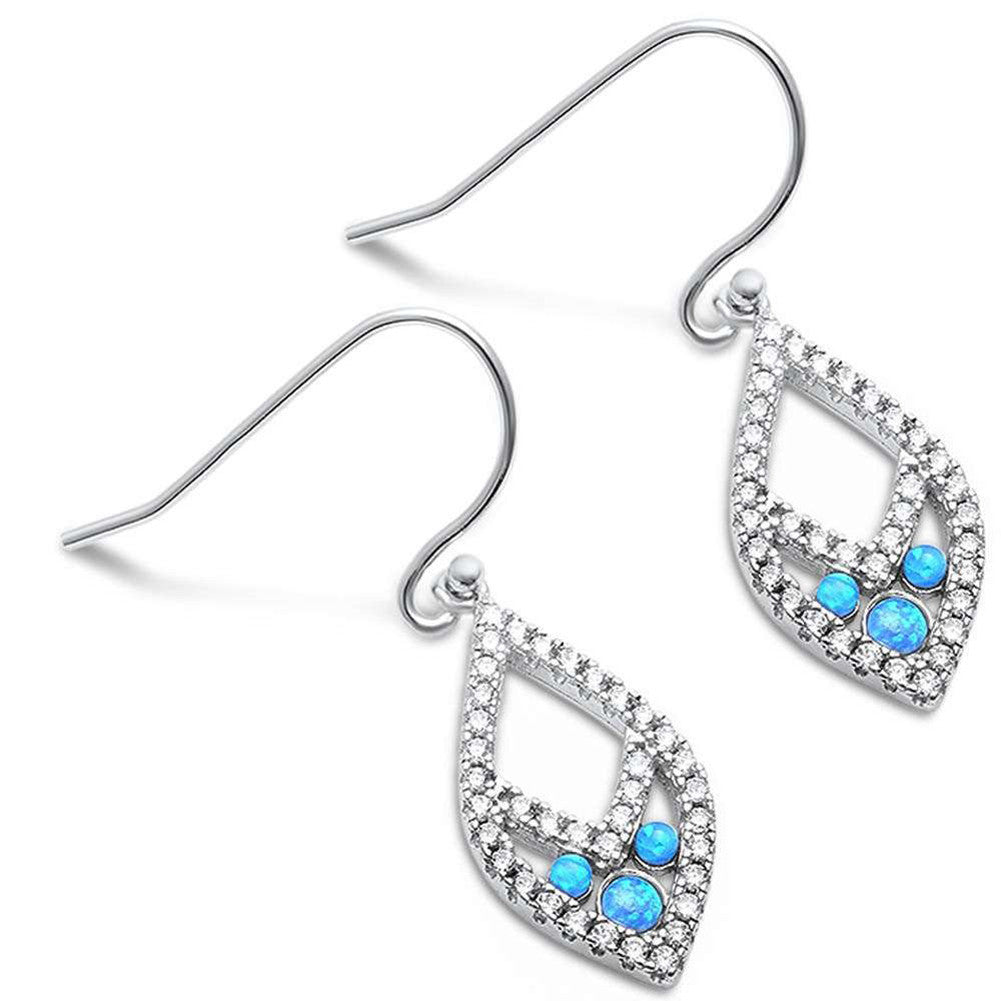 32mm Drop Dangle Marquise Shape Round Created Blue Opal CZ Earrings 925 Sterling Silver Fish Hook - Blue Apple Jewelry