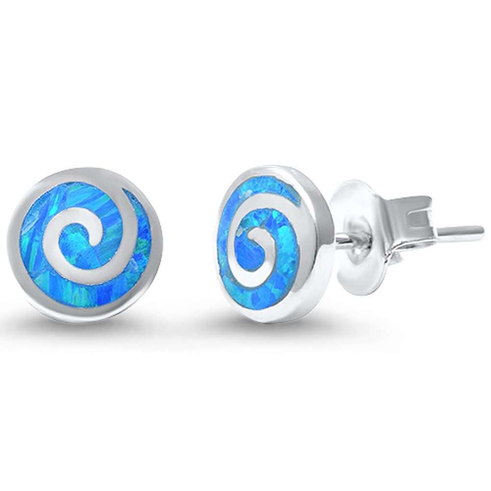 Round Spiral Swirl Stud Earrings Lab Created Blue Opal 925 Sterling Silver 7mm - Blue Apple Jewelry