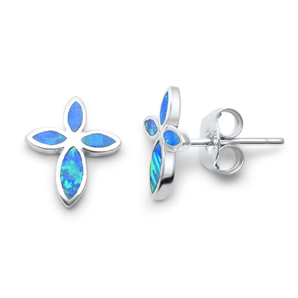 Cross Earrings Cross Shape Stud Earring 925 Sterling Silver Lab Created Blue Opal - Blue Apple Jewelry