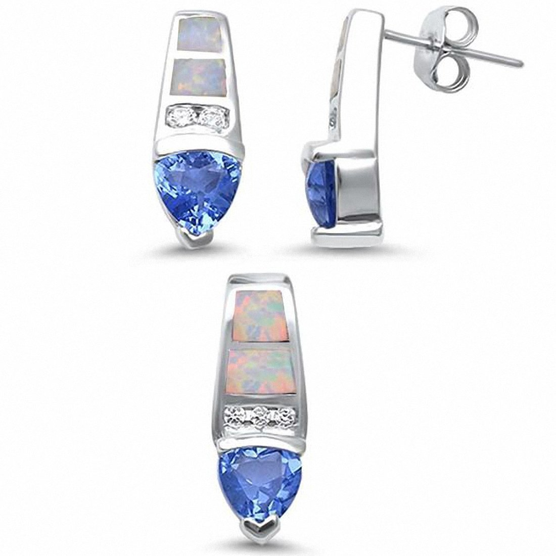 Fashion Jewelry Set Trillion Simulated Tanzanite Round CZ Created Opal 925 Sterling Silver Choose Color