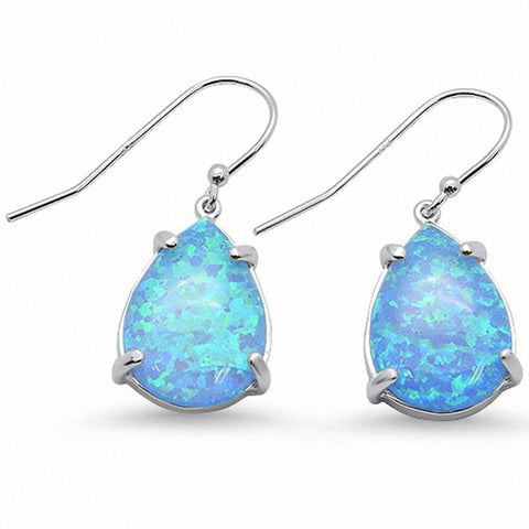 Teardrop Solitaire Pear Created Opal Fishhook Earrings 925 Sterling Silver Choose Color