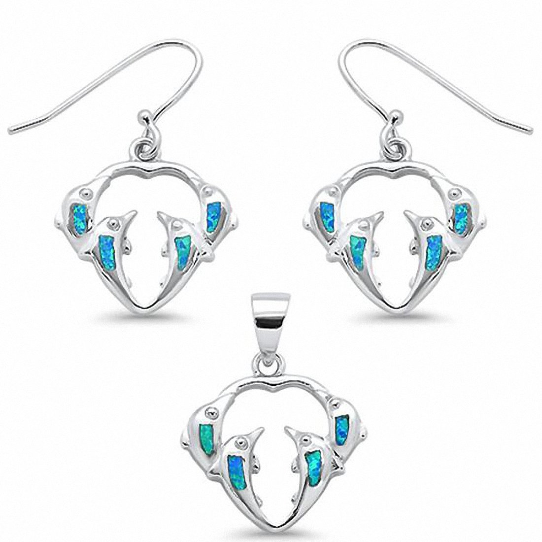 Dolphin Jewelry Set Pendant Fishhook Earrings 925 Sterling Silver Choose Color