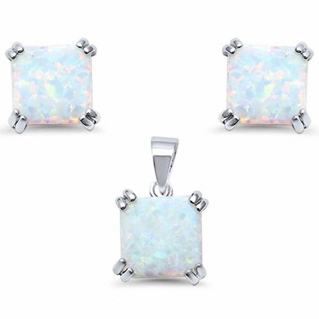 Double Prong Jewelry Set Square Cushion Created Opal 925 Sterling Silver Choose Color