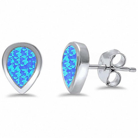 Teardrop Solitaire Stud Earrings Created Opal 925 Sterling Silver Choose Color
