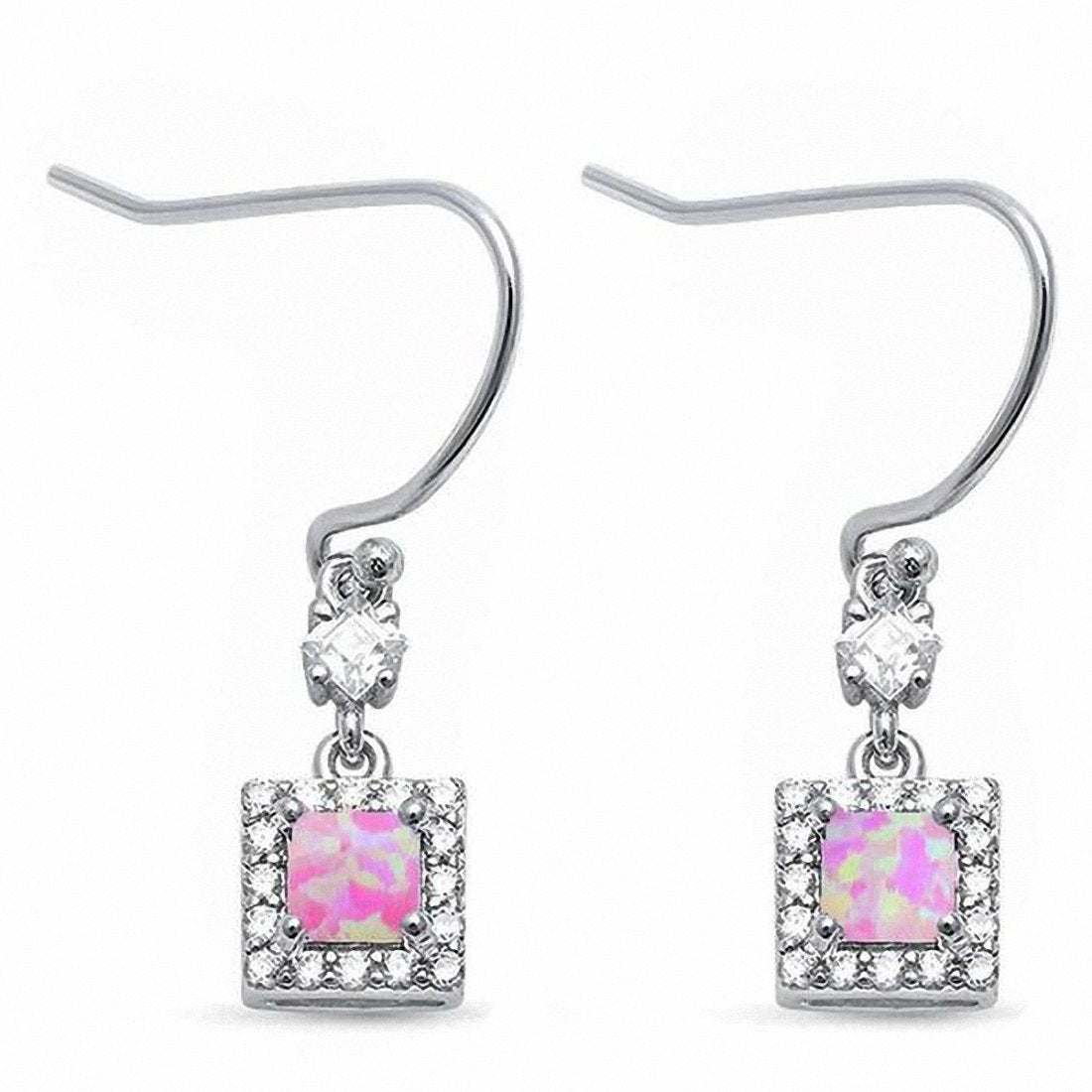 25mm Halo Drop Dangle Earrings Princess Square Created Opal Round CZ 925 Sterling Silver Fish Hook Choose Color