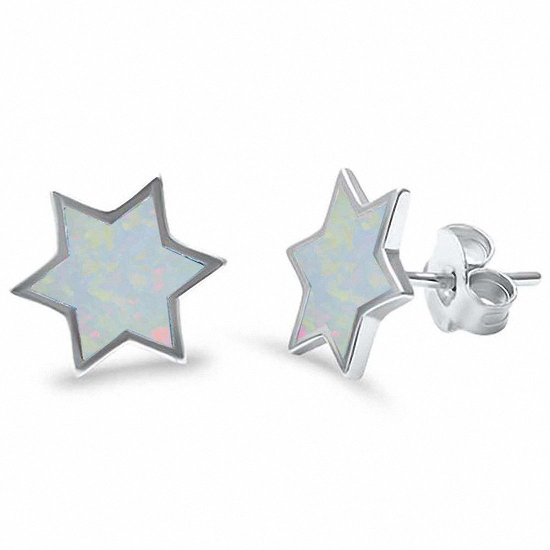 10mm Star Stud Earrings Lab Created Blue Opal Fashion Star Earrings Choose Color