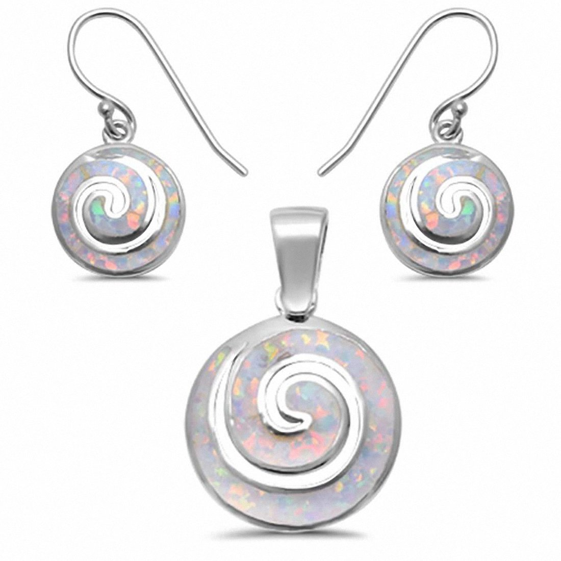 Swirl Spiral Jewelry Set Created Opal 925 Sterling Silver Pendant Earring Choose Color