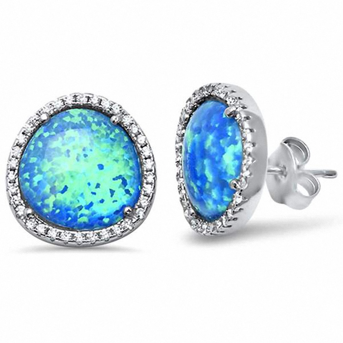 Halo Design Stud Earrings Round Created Opal Cubic Zirconia 925 Sterling Silver Choose Color