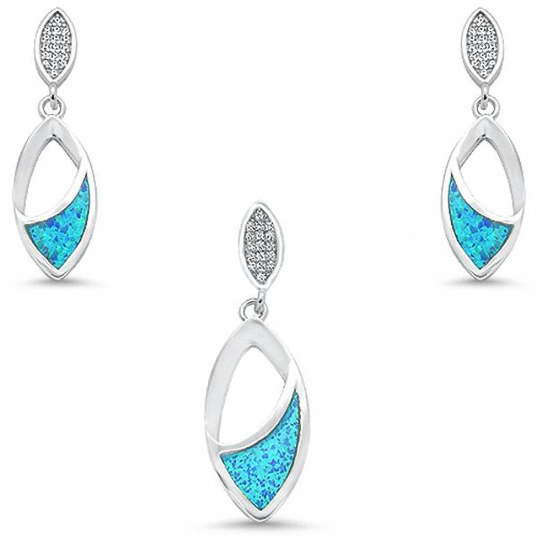 Leaf Marquise Shape Jewelry Set Created Opal 925 Sterling Silver Choose Color